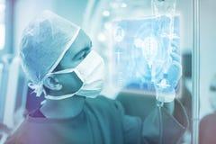 Samengesteld beeld van medische biologieinterface in blauwe 3d Royalty-vrije Stock Afbeeldingen