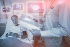 Samengesteld beeld van medische biologieinterface in zwarte 3d Stock Foto