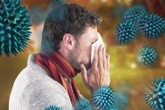 Samengesteld beeld van mensen blazende neus op weefsel Stock Fotografie