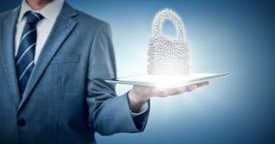 Samengesteld beeld van midsection van 3d de tabletcomputer van de zakenmanholding Stock Fotografie