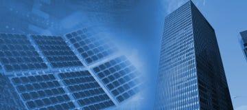 Samengesteld beeld van modern zonnemateriaal tegen het witte 3d scherm Stock Afbeelding