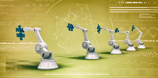 Samengesteld beeld van moderne machines met 3d puzzels Royalty-vrije Stock Afbeelding
