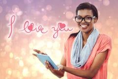 Samengesteld beeld van mooi meisje met tablet Royalty-vrije Stock Fotografie