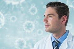 Samengesteld beeld van nadenkende arts in 3d labcoat Stock Afbeelding