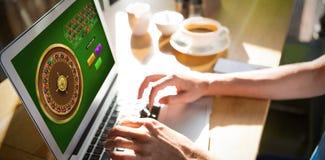Samengesteld beeld van online roulettespel stock afbeelding