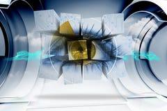 Samengesteld beeld van oog op het abstracte scherm Royalty-vrije Stock Foto
