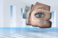 Samengesteld beeld van ooginterface op het abstracte scherm Royalty-vrije Stock Afbeeldingen