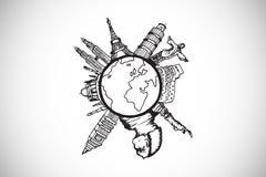 Samengesteld beeld van oriëntatiepunten rond de wereld stock illustratie