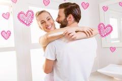 Samengesteld beeld van paar en valentijnskaarten 3d harten Royalty-vrije Stock Foto's