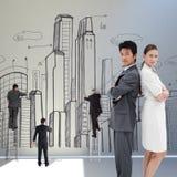 Samengesteld beeld van portret van bedrijfsmensen die zich rijtjes bevinden Royalty-vrije Stock Afbeelding
