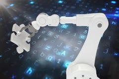 Samengesteld beeld van robotachtig 3d de figuurzaagstuk van de wapenholding Royalty-vrije Stock Foto