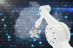 Samengesteld beeld van robotachtig 3d de figuurzaagstuk van de wapenholding Royalty-vrije Stock Fotografie