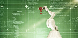 Samengesteld beeld van robotachtig wapen met 3d vraagteken Royalty-vrije Stock Foto