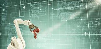 Samengesteld beeld van robotachtig wapen met rood 3d vraagteken Royalty-vrije Stock Foto