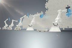 Samengesteld beeld van robotachtige wapens die blauw figuurzaagstuk op 3d raadsel schikken Stock Afbeeldingen