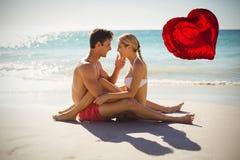 Samengesteld beeld van rode 3d hartballon Royalty-vrije Stock Fotografie