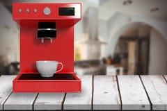 Samengesteld beeld van rood 3d koffiezetapparaat Stock Fotografie