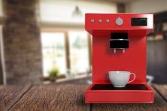 Samengesteld beeld van rood 3d koffiezetapparaat Royalty-vrije Stock Foto's