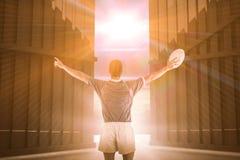 Samengesteld beeld van rugbyspeler het gesturing met 3D handen Royalty-vrije Stock Afbeelding