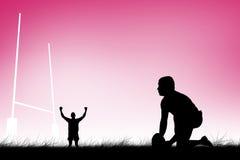 Samengesteld beeld van rugbyspeler klaar om een dalingsschop te maken Stock Foto's