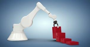 Samengesteld beeld van samengesteld beeld die van machine rode stuk speelgoed 3d blokken schikken Stock Afbeeldingen