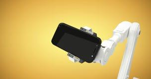 Samengesteld beeld van samengesteld beeld die van robot digitale tablet 3d houden Royalty-vrije Stock Afbeelding