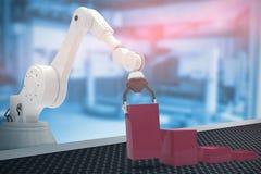Samengesteld beeld van samengesteld beeld die van robot rode stuk speelgoed 3d blokken schikken Stock Afbeeldingen