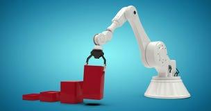 Samengesteld beeld van samengesteld beeld die van robot rode stuk speelgoed 3d blokken schikken Royalty-vrije Stock Foto