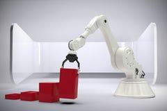 Samengesteld beeld van samengesteld beeld die van robot rode stuk speelgoed 3d blokken schikken Stock Fotografie