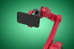 Samengesteld beeld van samengesteld beeld die van robot slimme telefoon 3d houden Royalty-vrije Stock Foto's
