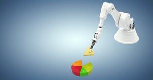 Samengesteld beeld van samengesteld beeld die van robot stuk speelgoed 3d blokken schikken Royalty-vrije Stock Afbeelding