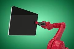 Samengesteld beeld van samengesteld beeld die van rode robot digitale tablet 3d houden Royalty-vrije Stock Foto