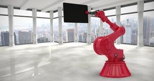 Samengesteld beeld van samengesteld beeld van 3d de computertablet van de robotholding Royalty-vrije Stock Foto's