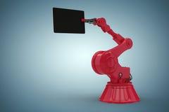 Samengesteld beeld van samengesteld beeld van 3d de computertablet van de robotholding Stock Foto's
