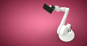 Samengesteld beeld van samengesteld beeld van 3d robot en slimme telefoon Stock Fotografie