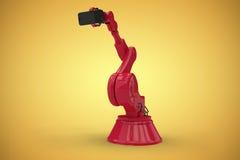 Samengesteld beeld van samengesteld beeld van de rode 3d telefoon van de robotholding Stock Foto