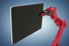 Samengesteld beeld van samengesteld beeld van digitale die tablet door 3d machine wordt gehouden Royalty-vrije Stock Foto