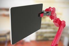 Samengesteld beeld van samengesteld beeld van digitale die tablet door 3d machine wordt gehouden Royalty-vrije Stock Afbeelding