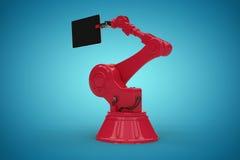 Samengesteld beeld van samengesteld beeld van digitale die tablet door rode 3d machine wordt gehouden Stock Fotografie