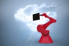 Samengesteld beeld van samengesteld beeld van digitale die tablet door rode 3d machine wordt gehouden Royalty-vrije Stock Foto's