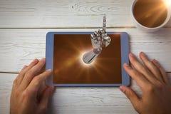 Samengesteld beeld van samengesteld beeld van het robotachtige hand 3d richten Stock Foto