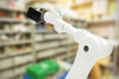 Samengesteld beeld van samengesteld beeld van robot met mobiele 3d telefoon Stock Fotografie