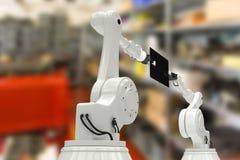 Samengesteld beeld van samengesteld beeld van robots met digitale 3d tablet Royalty-vrije Stock Foto's
