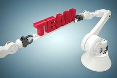 Samengesteld beeld van samengesteld die beeld van tekst door 3d robots wordt gehouden Stock Afbeeldingen
