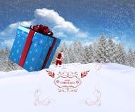 Samengesteld beeld van santa die grote gift leveren Royalty-vrije Stock Afbeelding