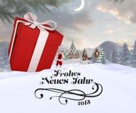 Samengesteld beeld van santa die grote gift leveren Stock Foto