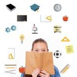 Samengesteld beeld van schoolpictogrammen Stock Foto's