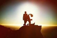 Samengesteld beeld van silhouet naast pondsymbool stock fotografie