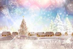 Samengesteld beeld van sneeuw behandeld dorp Stock Afbeeldingen