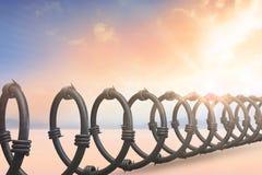 Samengesteld beeld van spiraalvormige draad tegen witte 3d achtergrond Royalty-vrije Stock Foto's